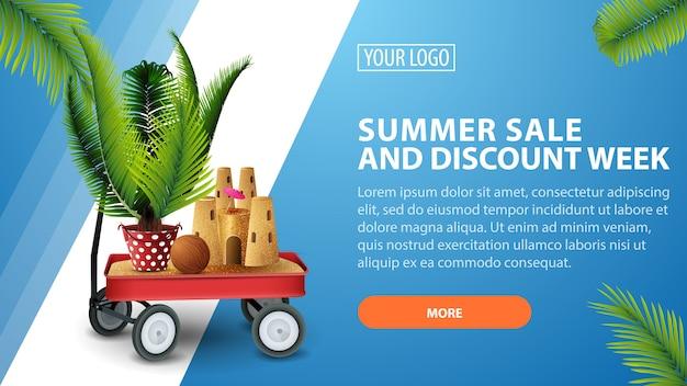 Tydzień sprzedaży i rabatów letnich, poziomy baner rabatowy na twojej stronie