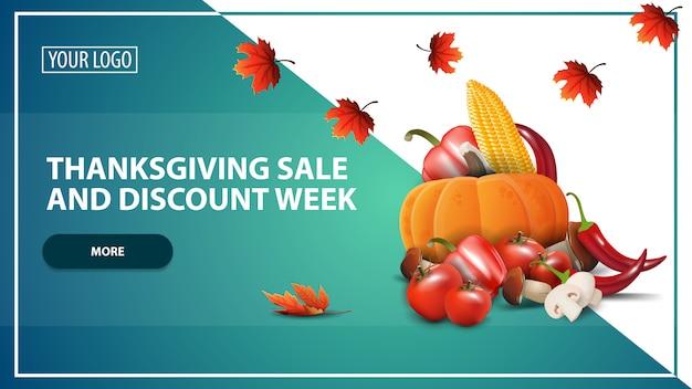 Tydzień sprzedaży i zniżki na święto dziękczynienia, szablon transparent www zniżki