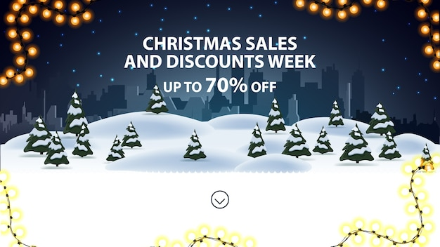 Tydzień świątecznych wyprzedaży i rabatów, do 70 rabatów, baner rabatowy na stronę internetową z zimowym krajobrazem nocnej kreskówki