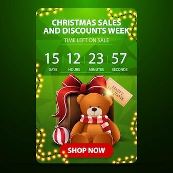 Tydzień świątecznych wyprzedaży i rabatów, zielony pionowy baner z minutnikiem