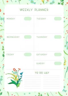 Tygodniowy harmonogram i szablon śledzenia dzikich kwiatów płaski szablon. projekt kalendarza z kwiatowymi kwiatami i płatkami na białym tle. pusta strona organizatora zadań osobistych dla planisty