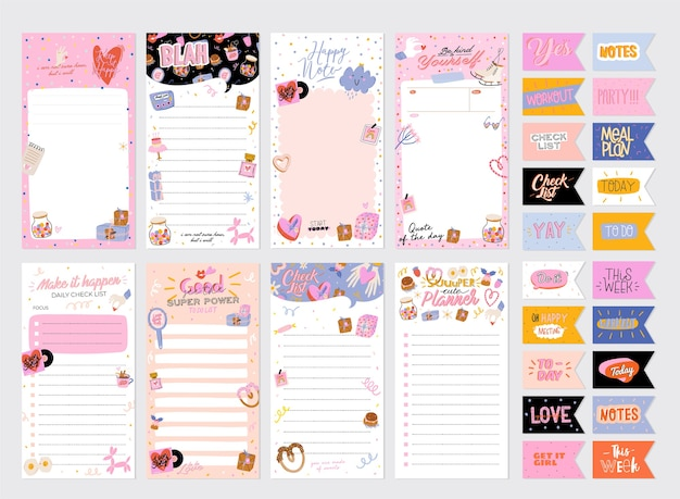 Tygodniowy lub dzienny terminarz kolekcji, papier do notatek, lista rzeczy do zrobienia, szablony naklejek ozdobione słodką miłością
