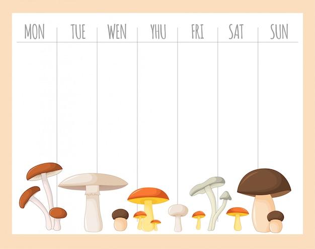 Tygodniowy planer dla dzieci z grzybami, grafika wektorowa