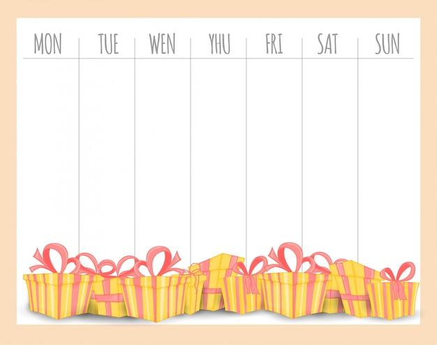 Tygodniowy planer dla dzieci z prezentami
