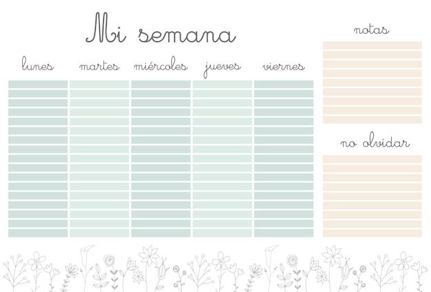 Tygodniowy planer z kwiatami, organizer papeterii do codziennych planów, szablon tygodniowy kwiatowy wektor, harmonogramy