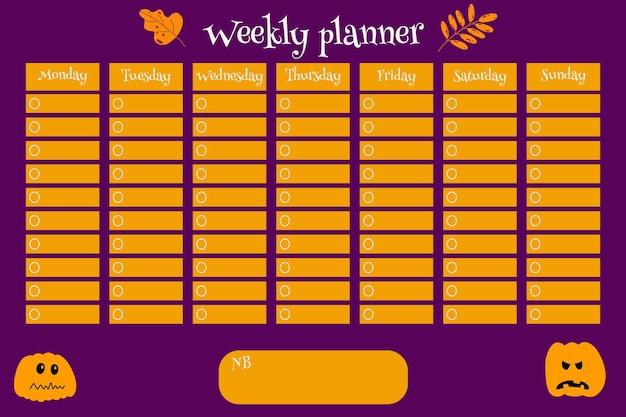 Tygodniowy terminarz dla dzieci szablon z dynią i liśćmi jesień halloween kolorowa ilustracja wektorowa