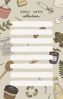 Tygodniowy terminarz i lista rzeczy do zrobienia z ilustracjami zero waste i modnym napisem. szablon do agendy, planistów, list kontrolnych i innych artykułów piśmiennych dla dzieci.