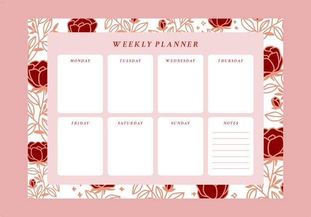 Tygodniowy terminarz kwiatowy i lista zadań do wykonania