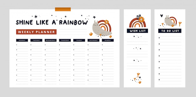 Tygodniowy terminarz z uroczym ślimakiem i tęczą oraz ręcznie rysowane elementy. lista życzeń, lista rzeczy do zrobienia
