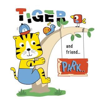Tygrys bawiący się w parku zabawna kreskówka zwierzęca
