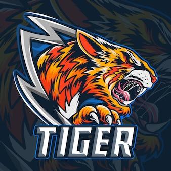 Tygrys bengalski jako logo lub maskotka esport.