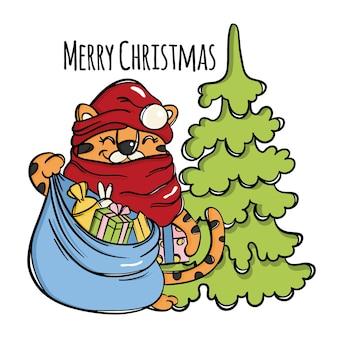 Tygrys boże narodzenie mikołaj z torbą prezentów śmiejąc się słodkie zwierzę dziecko i drzewo nowy rok gratulacje kreskówka ręcznie rysowane szkic wektor ilustracja zestaw