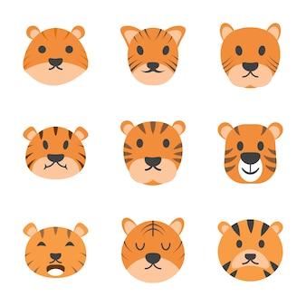 Tygrys cartoon wektorowe ikony