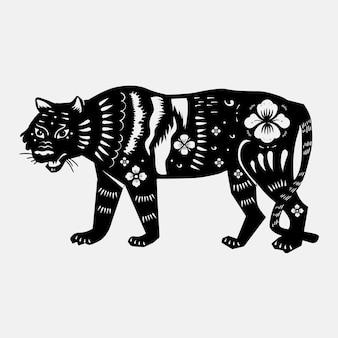 Tygrys chiński wektor zwierzę naklejka czarna naklejka na nowy rok