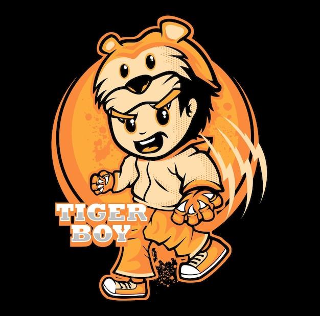 Tygrys chłopiec postać z kreskówki wektor