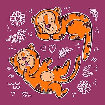 Tygrys dzieci śpią i przewracają się słodkie dzieci wśród kwiatów