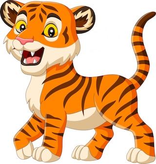 Tygrys dziecko kreskówka na białym tle
