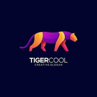 Tygrys fajne wektor zwierzęta gradient kolorowe nowoczesne logo