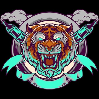 Tygrys głowa vape maskotka ilustracja