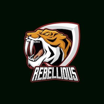 Tygrys głowa wektor ilustracja esport maskotka logo