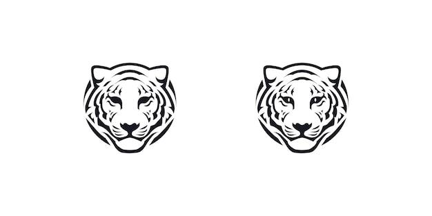 Tygrys głowy linii sztuki logo wektor ikona