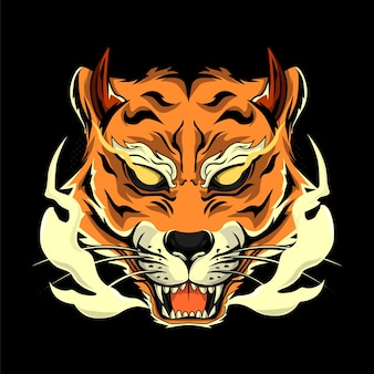 Tygrys głowy w stylu japońskim do nadruków na koszulkach