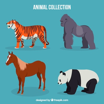 Tygrys, goryl, konie i panda z płaskim wzorem
