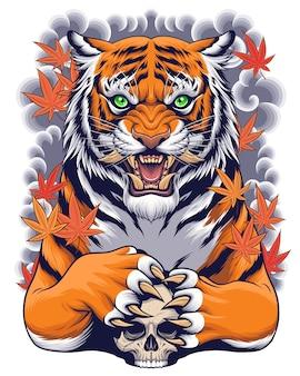 Tygrys i czaszka ilustracja z japońską sztuką w stylu