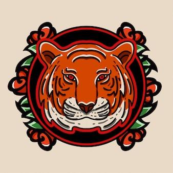 Tygrys i róża godło logo styl tatuaż styl tatuaż