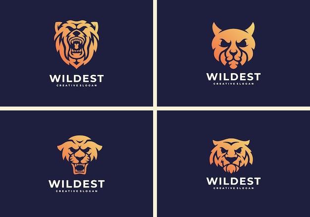 Tygrys, jaguar, gepard, niedźwiedź. szablon logo dzikiego zwierzęcia