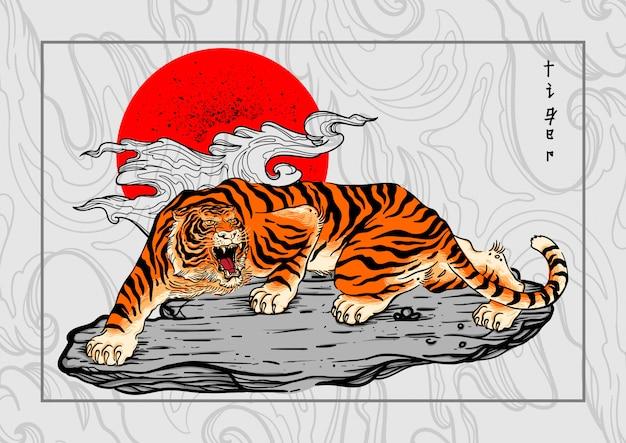 Tygrys japonia styl tatuaż tło