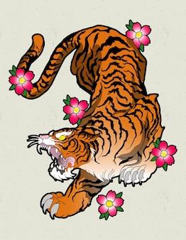 Tygrys japonia tatuaż