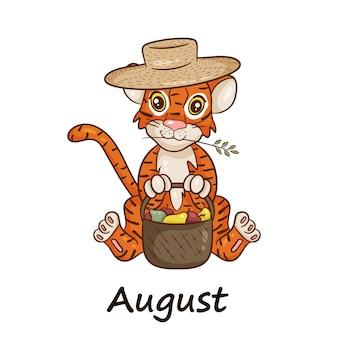 Tygrys jest symbolem chińskiego nowego roku, z napisem august. w słomkowym kapeluszu z koszem owoców, jabłek, gruszek. idealny do tworzenia kalendarza. wektor ilustracja stylu cartoon