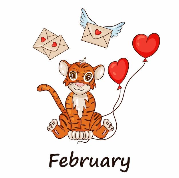 Tygrys jest symbolem chińskiego nowego roku, z napisem luty. z czerwonymi kulkami w kształcie serca. idealny do tworzenia kalendarza. wektor ilustracja stylu cartoon