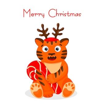 Tygrys kot przytula cukierka. kartka świąteczna. postać z kreskówki