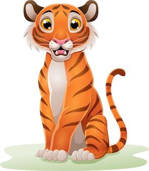 Tygrys kreskówka siedzi na trawie