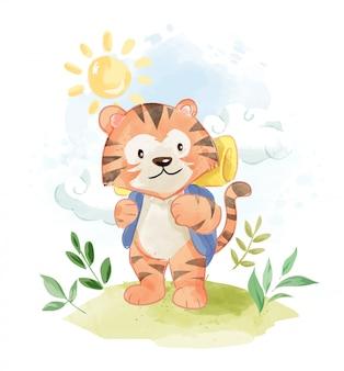 Tygrys kreskówka z plecakiem camping ilustracji