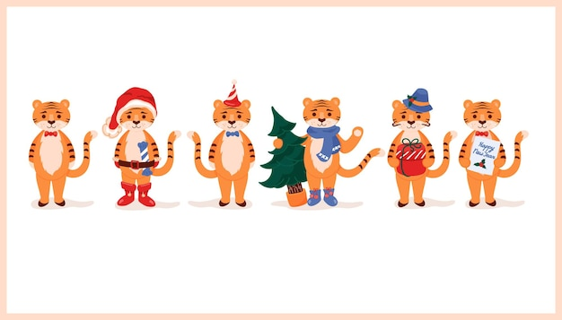 Tygrys kreskówka zestaw kolekcja z prezentem choinkowym i czapką świętego mikołaja rok tygrysa