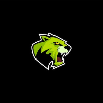 Tygrys logo emblemat na zielony kolor