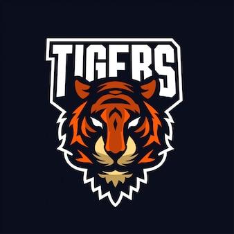 Tygrys maskotka dla sportu i e-sportu logo na białym tle
