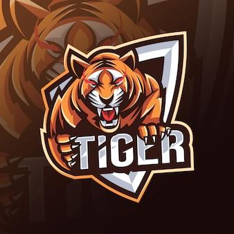Tygrys maskotka logo projektu e-sport