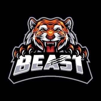 Tygrys na logo esport i sport maskotka na białym tle