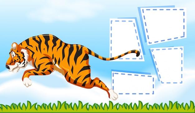 Tygrys na szablonie notatki