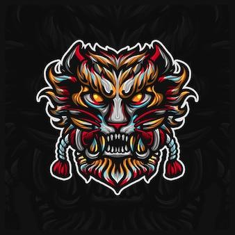 Tygrys oni maska twarz maskotka esport szablon projektu logo ilustracje, robotyczny styl kreskówki