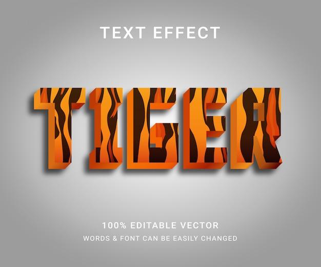 Tygrys pełny edytowalny efekt tekstowy z modnym stylem