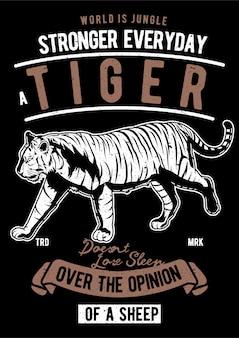 Tygrys, plakat vintage ilustracji.