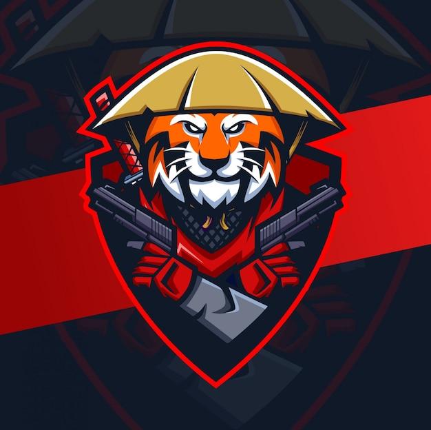 Tygrys ronin z logo esport maskotki pistoletu