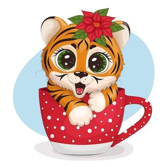 Tygrys rysunkowy z poinsecją na głowie siedzi w kręgu. kartka z życzeniami, druk. ilustracja wektorowa eps10.