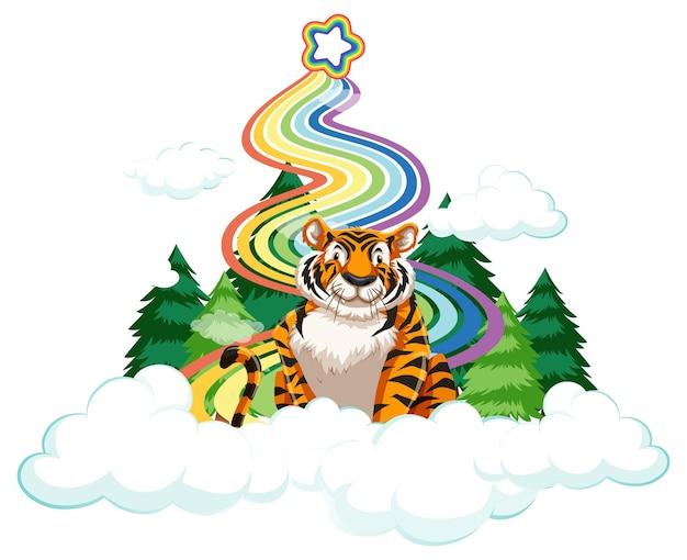 Tygrys siedzący na chmurze z tęczą na białym tle
