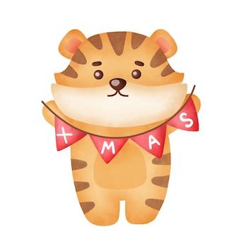 Tygrys świąteczny z elementami świątecznymi w stylu przypominającym akwarele.